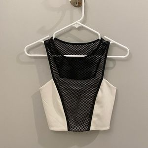 Express White Crop Top with Black Mesh Overlay